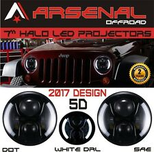 7 Inch 60W Round LED Headlights with White Halo For Jeep 97-2016 Wrangler JK TJ