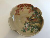 "Vintage Japanese Satsuma Hand Painted Bowl, Signed, 8"" Diameter x 2 1/2"" High"