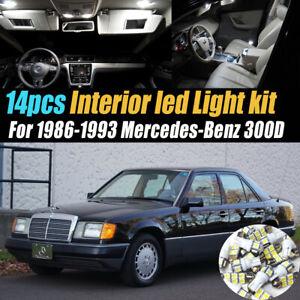 14Pc Car Interior LED White Light Bulb Kit for 1986-1993 Mercedes-Benz 300D