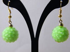 Neon Green Dangle Earrings New 15mm Acrylic Beads Ball Jewelry Gold