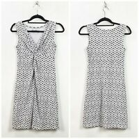 Eddie Bauer XS Womens White Gray Diamond Print Sleeveless Knit Shift Dress
