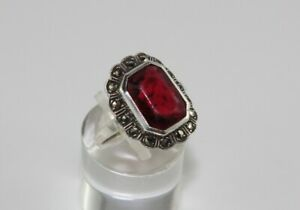 Antiker Silberring Ring Silber 835 - roter Stein & Markasiten - Ø 18 mm - 4,36 g