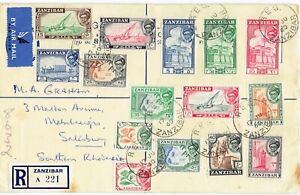 Zanzibar 1960 Definitive complete set of registered cover to Southern Rhodesia
