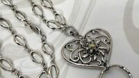 Fancy Heart Lanyard, Sparkly Heart Silver Chain ID Badge Holder, Breakaway Opt.