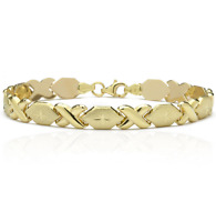 Diamond Cut Hugs and Kisses XOXO Stampato Bracelet Real 10K Yellow Gold