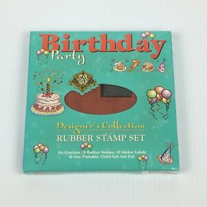 PSX Designer's Collection Birthday Party Rubber Stamp Set SK805