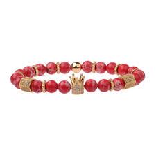 High Quality Women Men Zircon Gold Crown Bracelets Red Stone 8MM Beads Bracelets