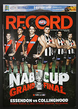 2011 NAB Cup Grand Final Essendon vs Collingwood Football Record unmarked