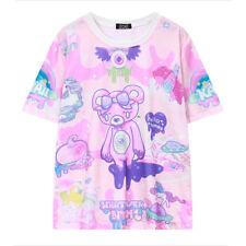 Women's Korea Harajuku Cute Bear Printing Pattern Short-Sleeved Loose T-Shirt