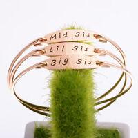 Big Sis Middle Sis Little Sis Sister Cuff Bangle Bracelet Family Friend LD
