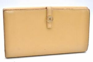 Authentic CHANEL Caviar Skin CoCo Button Wallet Beige A1097