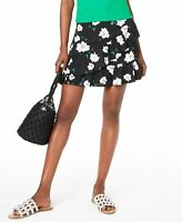 Bar III Women's Skirt Black Size 4 Floral Print Ruffle Tulip A-Line $59 #217