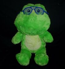 "17"" BUILD A BEAR GREEN FROG BIG HEAD COLLECTION GLASSES STUFFED ANIMAL TOY PLUSH"