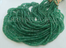 """8"""" natural AAA ZAMBIAN EMERALD faceted precious gem stone rondelle beads 2-3.5mm"""