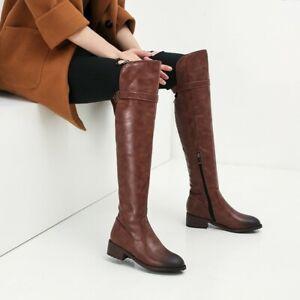 Women Winter Warm Side Zipper Shoes Leather Round Toe Block Low Heels Knee Boots