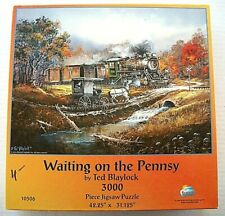 """""""WAITING ON THE PENNSY"""" Ted Blaylock 3000 Piece Jigsaw Puzzle Sunsout VGUC"""
