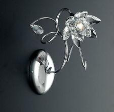 Lampada applique classico ferro battuto cristalli foglie fiori strass cromo oro