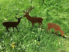 EDELROST Hirschfamilie Rehfamilie Reh Bock Skulptur Rost Gartendeko Edel Deko