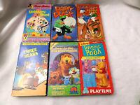 Lot of 6 - KIDS Bundle Cartoon Classic Cassette Tapes, VHS Tape (Bundle)