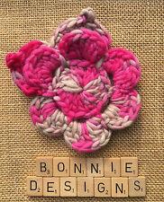 Mottled Rasberry & Mink boho chic 15cm HandCrochet Flower Corsage Chunky Leaves