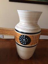 Austria 663-25 art studio pottery large vase cream brown retro vintage 27cmH gc