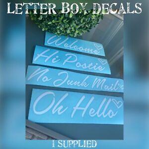 Letterbox decal - front door sticker - Oh hello/ Welcome /Hi Postie/No junk mail