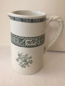 Victorian White Ironstone Pitcher With Blue Design. Dated 1876. Excellent Vintag