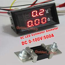 Dc 0 100v 500a Digital Dual Led Voltmeter Ammeter Amp Volt Meter Current Shunt