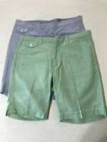 """*LOT OF 2* Polo Ralph Lauren 34 x 9"""" Blue Mint Flat Front 5 Pocket Chino Shorts"""
