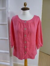 BNWT Pure Collection pure linen pink scoop neck boho peasant shirt/blouse size 8