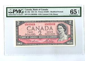 1954 $2 CANADA PMG 65 EPQ BC-38d BANKNOTE SN U/G 5655858 LAWSON BOUEY GEM UNC