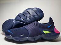Men Nike Free RN Flyknit 3.0 Running/Athletic Shoes Navy/Volt/Blue AQ5707-400