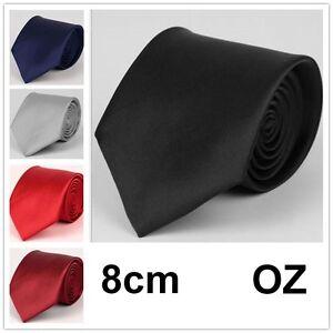 Mens 8cm TIE Plain Wedding Necktie Formal Casual Party Solid regular size ties