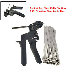 150xStainless Exhaust Wrap Zip Cable Tie Gun Auto Tightener Cut Fasten Accessory