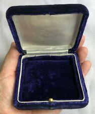 Antique VICTORIAN Jewelry Presentation Box Push Button Purple Velvet NICE!
