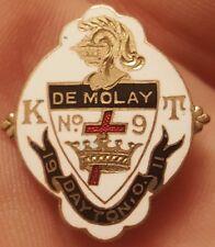 RARE 1911 KNIGHTS TEMPLAR DEMOLAY DAYTON OHIO GOLD TONE ENAMELED PIN BADGE MEDAL