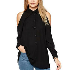 Women Chiffon Cold Off Shoulder Loose Casual Long Sleeve Tops Blouse Shirt