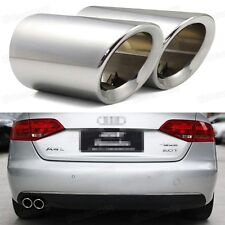 New 2Pcs Silver Exhaust Muffler Tail Pipe Tip Tailpipe for Audi A4 B8 2009-2014
