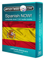 LEARN + SPEAK SPANISH NOW! COMPLETE LEVEL 1 2 AUDIO LANGUAGE COURSE MP3 CD GIFT