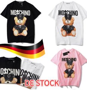 Unisex Moschino Lustige Kurzarm-Baumwolloberteile Bärendruck-bedrucktes T-Shirt