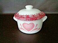 Vintage Ceramic Hand Painted Jar With Lid Heart Design (#5T021)