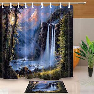 Brown Bear Fishing Under Waterfall Shower Curtain Bedroom Fabric & 12Hooks & Mat