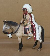 SCHLEICH INDIAN CHIEF PONY SET SPOTTED HORSE HEADDRESS SIOUX WILD WEST # 70300