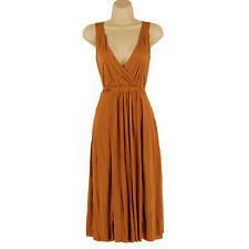 V-Neck Patternless Sleeveless Wrap Dresses