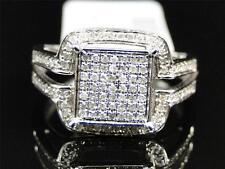 Ladies 10K White Gold Pave Diamond Engagement Wedding Bridal Fashion Ring .40 Ct
