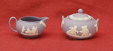 Boxed Wedgwood blue jasper/jasperware miniature sugar bowl and cream jug