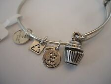 Authentic Alex and Ani CUPCAKE Russian Silver Charm Bangle New W/Tag Card & Box