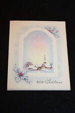 Vintage Christmas Card Winter Church Scene With Holly Merrry Christmas   --b
