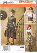 Victorian Steampunk Jacket Blouse Top Corset Skirt Sewing Pattern Size 6 8 10 12