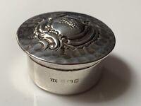 Heavy Edwardian Sterling Silver Pill Box Birmingham 1907 George Unite 16.2g